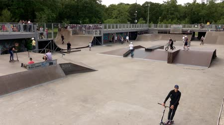 Kaliningrad, Russia - June 7, 2019: Youth having fun in skate park Wideo