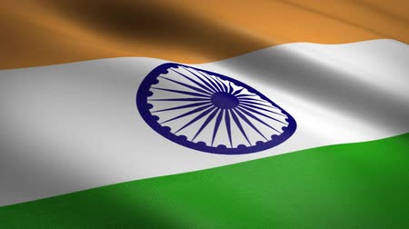 národnost : Flag of India. Waving flag with highly detailed fabric texture seamless loopable video. Seamless loop with highly detailed fabric texture. Loop ready in HD resolution