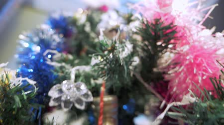 降誕 : Christmas tree decorations with bokeh on the background