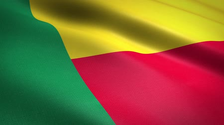národnost : Flag of Benin. Waving flag with highly detailed fabric texture seamless loopable video. Seamless loop with highly detailed fabric texture. Loop ready in HD resolution Dostupné videozáznamy