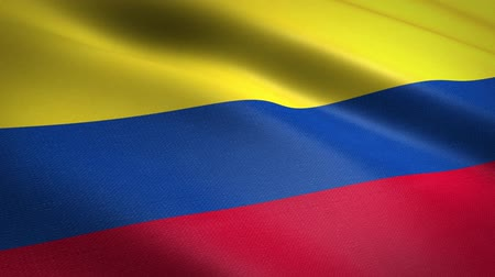 colômbia : Flag of Colombia. Waving flag with highly detailed fabric texture seamless loopable video. Seamless loop with highly detailed fabric texture. Loop ready in HD resolution Vídeos