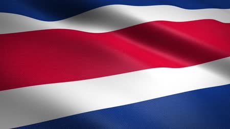 nationalités : Flag of Costa Rica. Waving flag with highly detailed fabric texture seamless loopable video. Seamless loop with highly detailed fabric texture. Loop ready in HD resolution