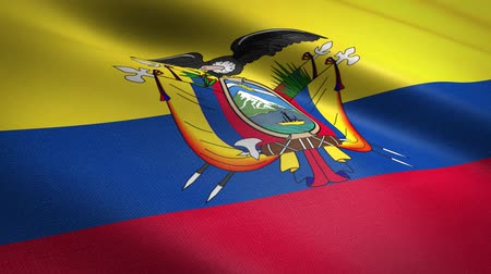 quito : Flag of Ecuador. Waving flag with highly detailed fabric texture seamless loopable video. Seamless loop with highly detailed fabric texture. Loop ready in HD resolution