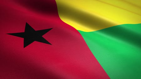 Flag of Guinea-Bissau. Waving flag with highly detailed fabric texture seamless loopable video. Seamless loop with highly detailed fabric texture. Loop ready in HD resolution