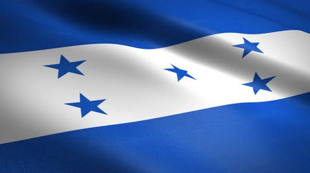 Flag of Honduras. Waving flag with highly detailed fabric texture seamless loopable video. Seamless loop with highly detailed fabric texture. Loop ready in HD resolution