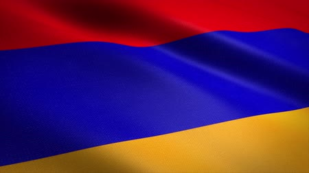 Flag of Armenia. Waving flag with highly detailed fabric texture seamless loopable video. Seamless loop with highly detailed fabric texture. Loop ready in 4K resolution Stock mozgókép