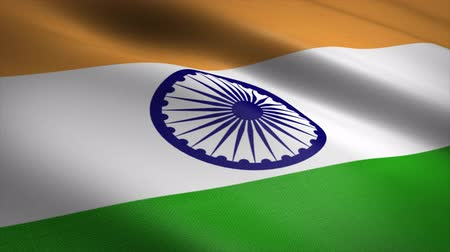 Flag of India. Waving flag with highly detailed fabric texture seamless loopable video. Seamless loop with highly detailed fabric texture. Loop ready in 4K resolution