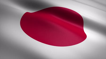 Flag of Japan. Waving flag with highly detailed fabric texture seamless loopable video. Seamless loop with highly detailed fabric texture. Loop ready in 4K resolution