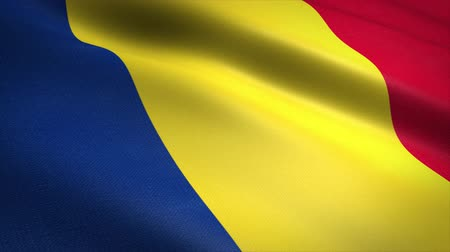 romeno : Flag of Romania. Waving flag with highly detailed fabric texture seamless loopable video. Seamless loop with highly detailed fabric texture. Loop ready in 4K resolution Stock Footage