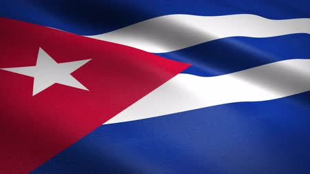 Flag of Cuba. Waving flag with highly detailed fabric texture seamless loopable video. Seamless loop with highly detailed fabric texture. Loop ready in 4K resolution Stock mozgókép