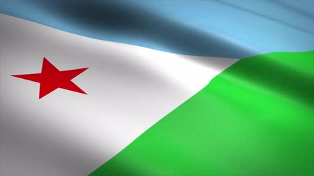 Flag of Djibouti. Waving flag with highly detailed fabric texture seamless loopable video. Seamless loop with highly detailed fabric texture. Loop ready in 4K resolution