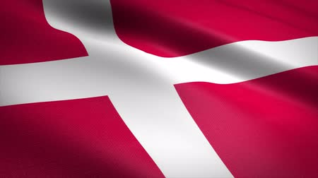 escandinavo : Flag of Denmark. Waving flag with highly detailed fabric texture seamless loopable video. Seamless loop with highly detailed fabric texture. Loop ready in 4K resolution