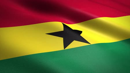 Flag of Ghana. Waving flag with highly detailed fabric texture seamless loopable video. Seamless loop with highly detailed fabric texture. Loop ready in 4K resolution Stock mozgókép