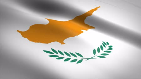 Flag of Cyprus. Waving flag with highly detailed fabric texture seamless loopable video. Seamless loop with highly detailed fabric texture. Loop ready in 4K resolution