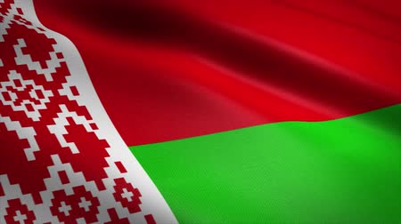 Flag of Belarus. Waving flag with highly detailed fabric texture seamless loopable video. Seamless loop with highly detailed fabric texture. Loop ready in 4K resolution