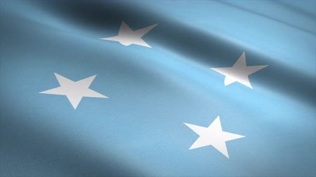 Flag of Micronesia. Waving flag with highly detailed fabric texture seamless loopable video. Seamless loop with highly detailed fabric texture. Loop ready in 4K resolution
