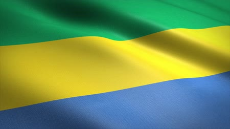 Flag of Gabon. Waving flag with highly detailed fabric texture seamless loopable video. Seamless loop with highly detailed fabric texture. Loop ready in 4K resolution