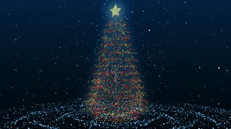 Animated Christmas Tree Seamless Background Loop with Flickering Christmas Lights, Falling Snowflakes and Copyspace. Glittering Christmas tree made of animated particles.Space for text.Christmas mood.