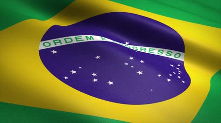 címer : Flag of Brazil. Waving flag with highly detailed fabric texture seamless loopable video. Seamless loop with highly detailed fabric texture. Loop ready in HD resolution