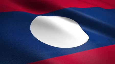 nacionalidade : Flag of Laos. Waving flag with highly detailed fabric texture seamless loopable video. Seamless loop with highly detailed fabric texture. Loop ready in HD resolution
