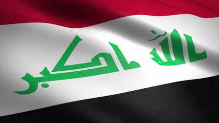 state capital : Flag of Iraq. Waving flag with highly detailed fabric texture seamless loopable video. Seamless loop with highly detailed fabric texture. Loop ready in 4K resolution
