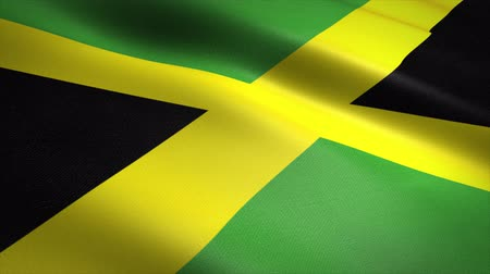 jamaique : Flag of Jamaica. Waving flag with highly detailed fabric texture seamless loopable video. Seamless loop with highly detailed fabric texture. Loop ready in 4K resolution