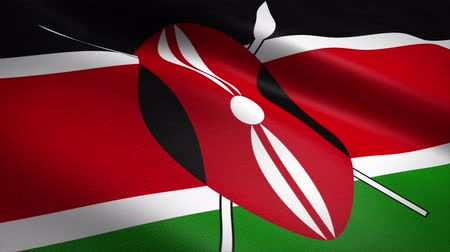quênia : Flag of Kenya. Waving flag with highly detailed fabric texture seamless loopable video. Seamless loop with highly detailed fabric texture. Loop ready in 4K resolution