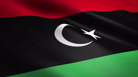 libia : Flag of Libya. Waving flag with highly detailed fabric texture seamless loopable video. Seamless loop with highly detailed fabric texture. Loop ready in 4K resolution Filmati Stock