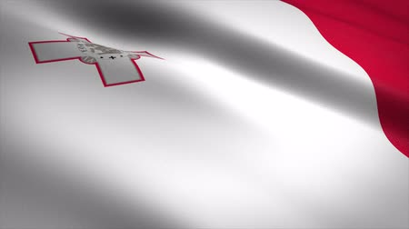 maltština : Flag of Malta. Waving flag with highly detailed fabric texture seamless loopable video. Seamless loop with highly detailed fabric texture. Loop ready in 4K resolution
