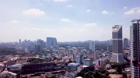 Aerial view of Malaysia, Kuala Lumpur buildings and urban area during the day