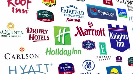 hilton : Loopable animation of a large compilation of major US Hotel Brands.  All logos and trademarks remain property of their respective owners.  Editorial only. Stock Footage