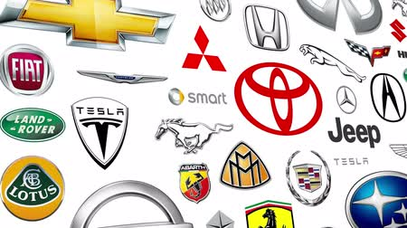 fábrica : Seamlessly loopable animation of a compilation of US sold automobile brands.  All logos and trademarks remain property of their respective owners.  Editorial only.