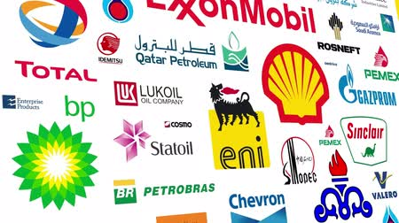 Loopable animation of a large compilation of major worldwide petroleum companies.  All logos and trademarks remain property of their respective owners.  Editorial only. Dostupné videozáznamy