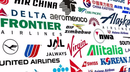Seamlessly loopable animation of a compilation of logos of various major airlines from around the world.  All logos and trademarks remain property of their respective owners.  Editorial only.