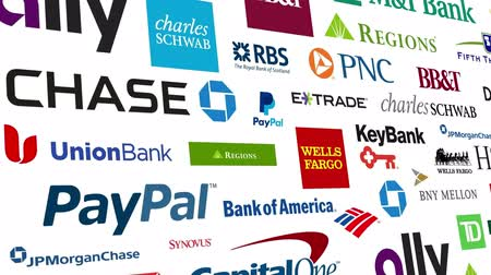 bank : Loopable animation of a large compilation of major US banking and financial institutions.  All logos and trademarks remain property of their respective owners.  Editorial only. Stock Footage