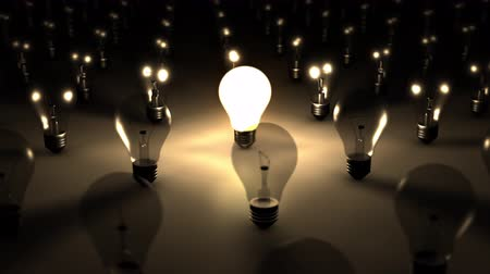 izzók : A sea of dark lightbulbs is contrasted by a single brilliantly illuminated lightbulb. Can be used to portray the concepts of creativity, standing out, a brilliant idea or person, and many more!   This animation was created using the latest software and 3D Stock mozgókép
