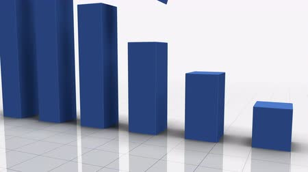 Falling Bar Graph in BLUE with Arrow