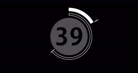 contagem regressiva : Circular countdown clock, 60 seconds with numbers and circles marking time