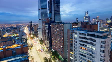 bogota : Brilliant  day to night time-lapse of the downtown skyline in Bogota, Colombia.