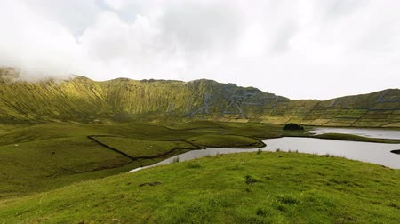 azores islands : A 360 degree timelapse in the center of the crater on Corvo island in Portugal.