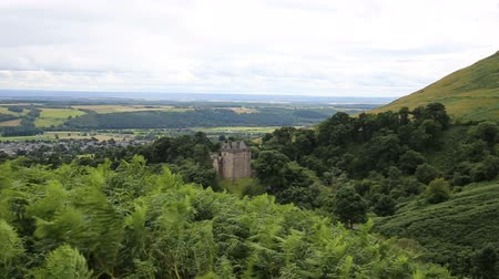 campbell : Ferns blow in the breeze above Castle Campbell above the town of Dollar, Clackmannanshire, in central Scotland. Stock Footage