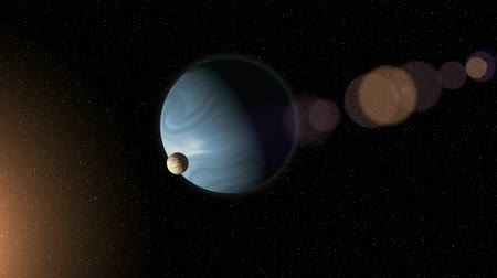nebulosa : Large blue gas giant planet and a moon orbiting close to a red star. Outer Space, Cosmic Art and Science Fiction Concept. Vídeos