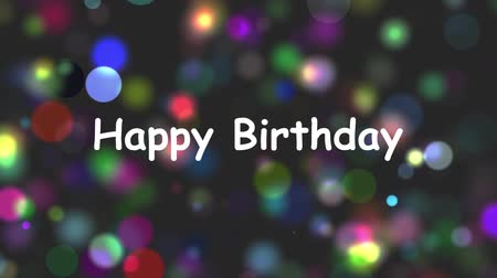 текст : happy birthday colorful particles