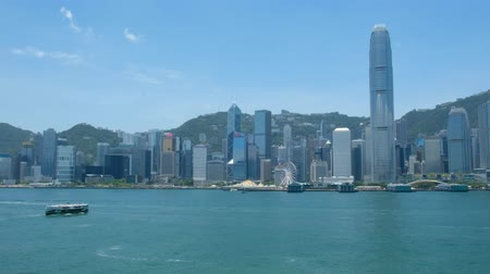 Victoria Harbor and Hong Kong Island Skyline. Hong Kong is one of the most densely populated City.