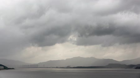 hong kong : Storm with heavy rain over mountain - Timelapse