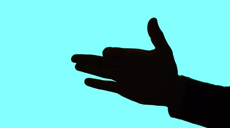 forefinger : Close-up hand gesture - sign dog barks. Shadow of a mans hand shows a sign dog barks on a blue background.