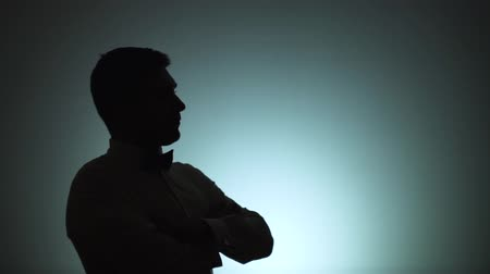 театральный : Silhouette of a man. The shadow of a man on a light background. A man. listens to the interlocutor, responds to him, actively gesticulates. Emotions, conversation, gestures.