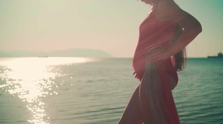 A pregnant girl in a red one-piece swimsuit is standing on the shores of the sea and stroking her tummy in the rays of the sunset sun. Tummy close up. Wideo