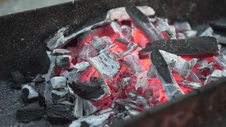 Close-up hot coals on the grill. The coals are warmed to red in the grill. Wideo