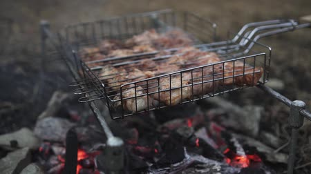 lombo de vaca : Delicious meat in the grid barbecue is prepared on the coals. The concept of outdoor recreation. Food cooked on fire.